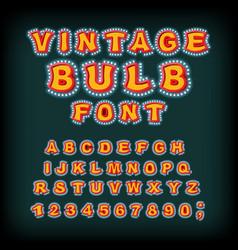 vintage bulb font glowing letters retro alphabet vector image
