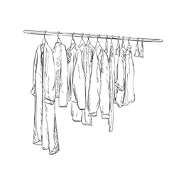 Wardrobe sketch Clothes shop vector image