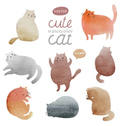 Watercolor cats in vector image vector image