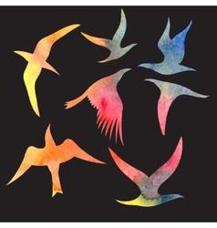 Watercolor set bird vector