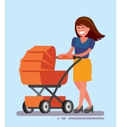 Woman with baby carriage vector