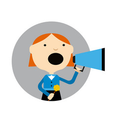 Young girl with megaphone round avatar icon vector