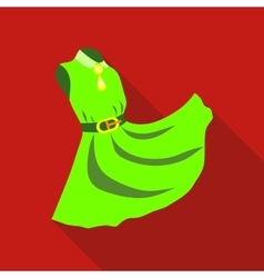 Elegant green dress icon flat style vector