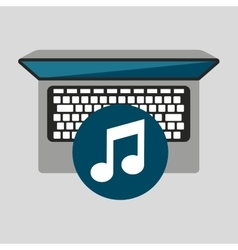 Person working laptop music social media graphic vector