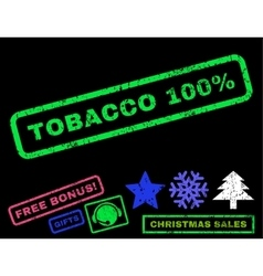 Tobacco 100 percent rubber stamp vector