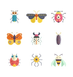 Colorful bugs icons vector