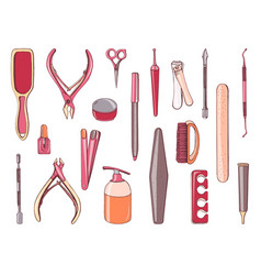 Manicure equipment set collection different tool vector