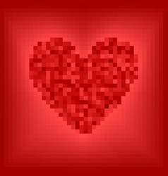 Red pixel heart on rose and red background vector