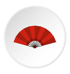 red open hand fan icon circle vector image