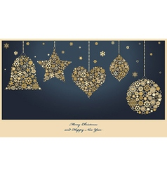 Christmas ornaments from golden snowflakes vector image