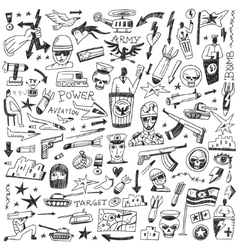 War - doodles set vector