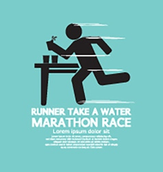 Runner take a water in a marathon race symbol vector