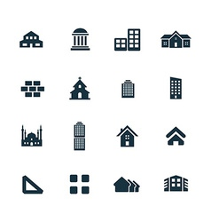set of architecture icons vector image