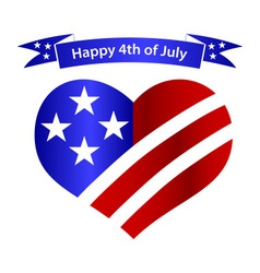 American independence day heart and banner vector