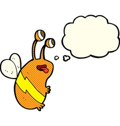 Cartoon funny bee with thought bubble vector