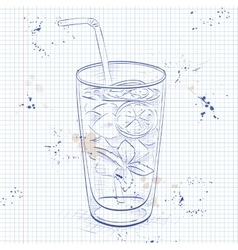 Mojito fresh cocktail on a notebook page vector