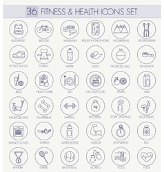 Fitness and health outline icon set modern vector