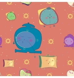 Seamless pattern funny alarm clocks vector
