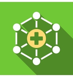 Medical network flat long shadow square icon vector