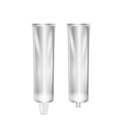 Closed and open silver tube vector