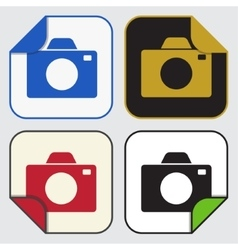 Four square sticky icons - camera vector