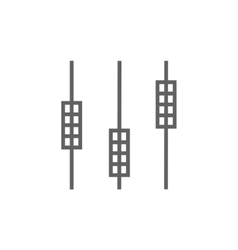 Sound mixer console line icon vector