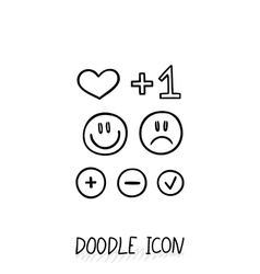 Set of doodle social icons Love plus smiling vector image