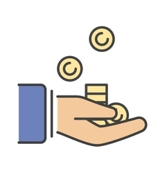 Human hand with money business currency finance vector