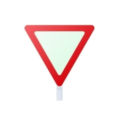 Yield triangular road sign icon cartoon style vector