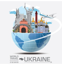 Ukraine landmark global travel and journey vector