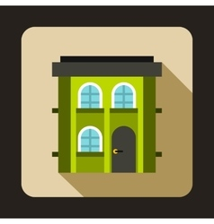 Green two storey house icon flat style vector