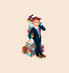 Accountant and paper pile vector