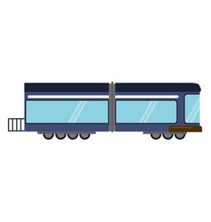 Blue train rail passenger transport vector