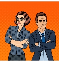 Businessman and businesswoman pop art vector