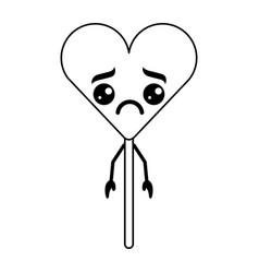 Cartoon heart lollipop kawaii character vector