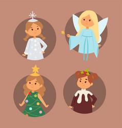 Christmas carnival costume kids vector