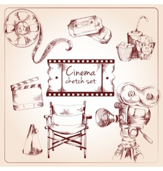 Cinema sketch set vector image vector image