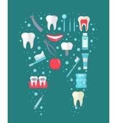 Dental icon set in tooth form flat style vector