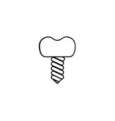 dental implant icon outline vector image vector image