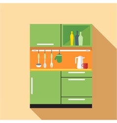 Digital picture green and orange kitchen vector image vector image