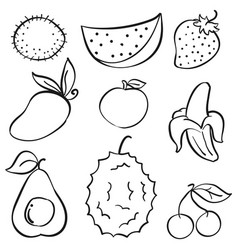 Doodle of fruit set hand draw vector
