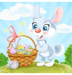 Easter bunny with basket of eggs on the green lawn vector