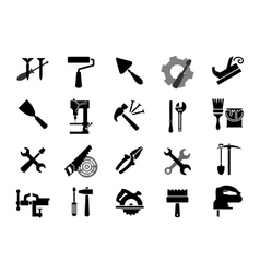Electric and manual tools black icons vector