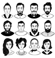 Faces Monochrome Set vector image vector image
