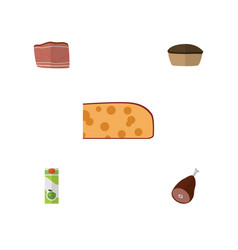 Flat icon food set of meat tart cheddar slice vector