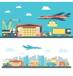 Flat logisticequipment and delivery service vector