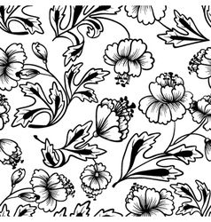floral lineart seamless pattern vector image vector image