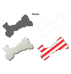 Fresno county california outline map set vector