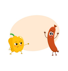 Funny food characters pepper versus sausage vector
