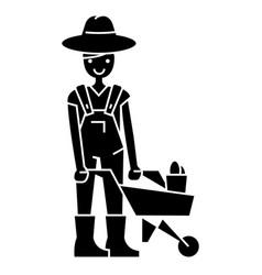 gardener man with wheelbarrow icon vector image